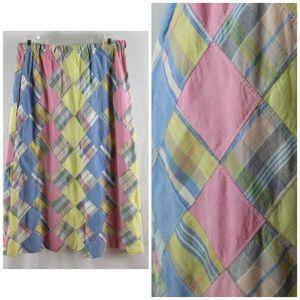 Vintage Pastel Madras Patchwork Midi A-Line Skirt